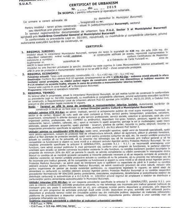 Certificat de urbanism pentru informare Morilor 7-1